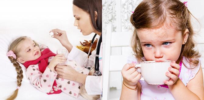Ребенок запивает таблетку, пьет чай