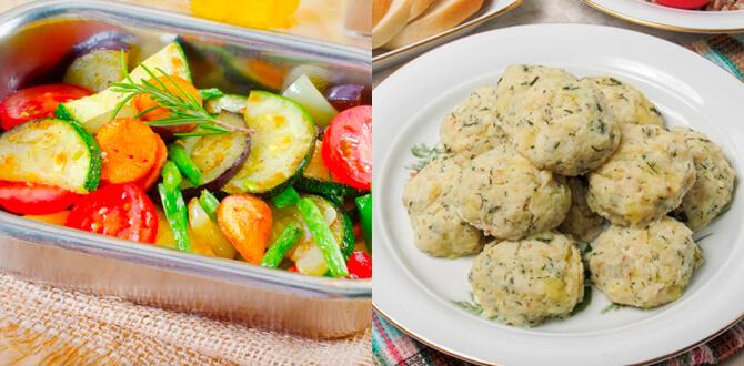 Запеченые овощи, рыбные котлеты на пару