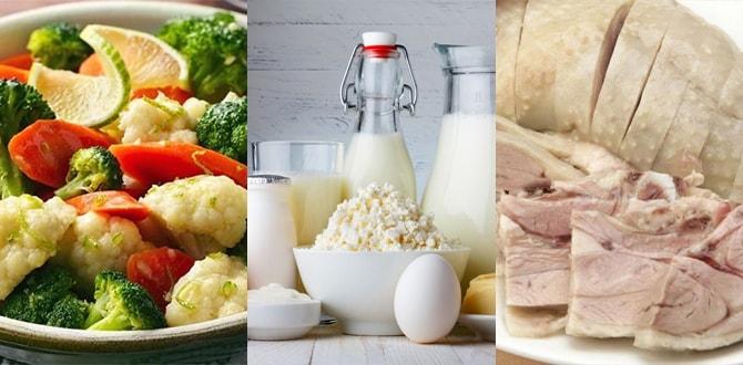 Овощи, молочка, курица