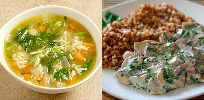 Рисовый суп, гречка с курицей