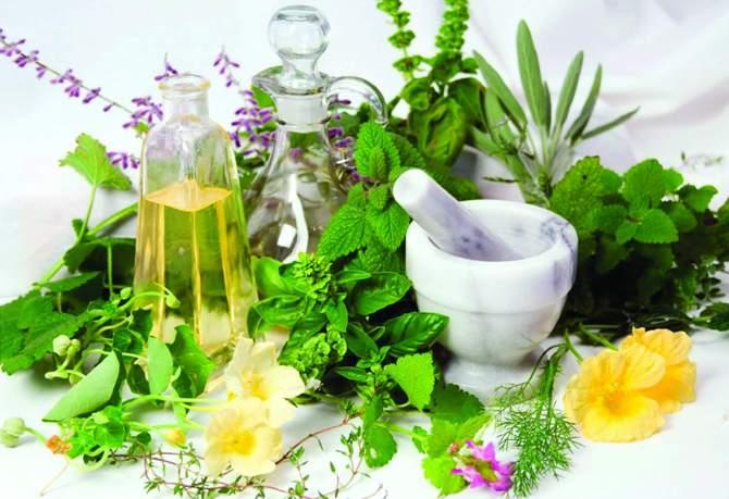 Свежая зелень, графин масла и ступка