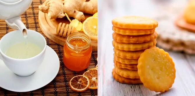 Чай с лимоном, имбирем, крекеры