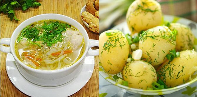 Суп, вареный картофель