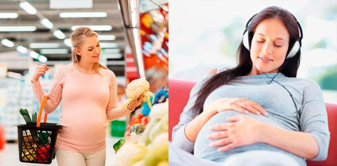 Беременная выбирает продукты, слушает музыку
