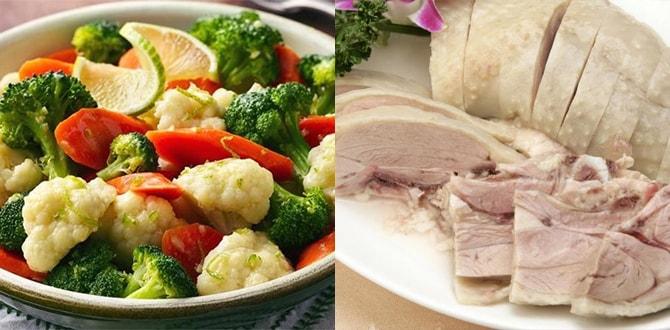 Овощи, варенная курица
