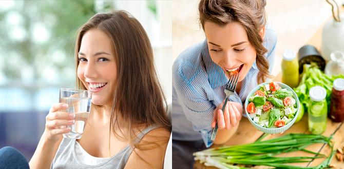 Девушка есть овощи, пьет