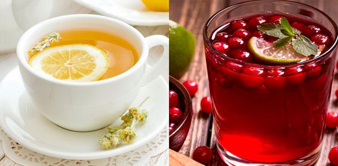 Чай с лимоном, морс с клюквой