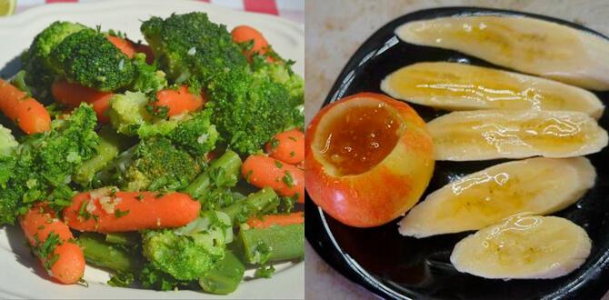 Морковка, брокколи, печеные яблоки, бананы