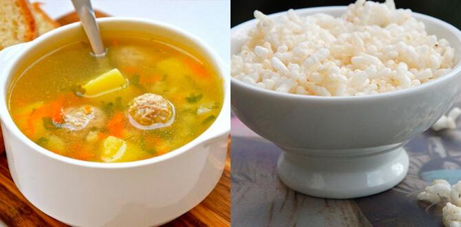 Суп с фрикадельками, рис без масла