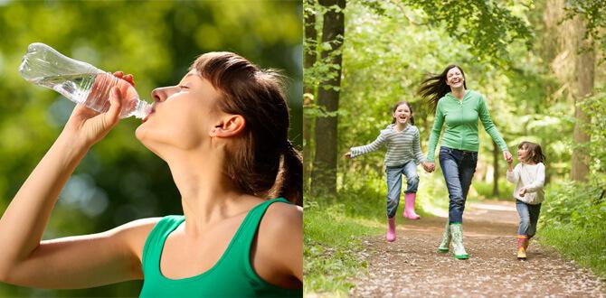Девушка пьет воду, прогулка на свежем воздухе