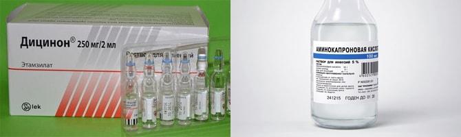 Дицинон, аминокапроновая кислота