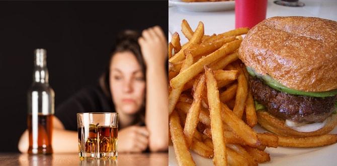 Алкоголь, жирная пища